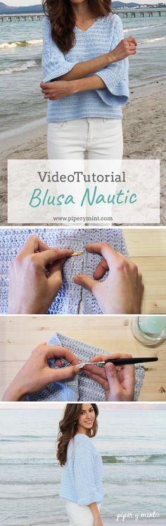 Tutorial con vídeo Blusa Nautic a crochet. Patrón escrito en el Blog.