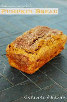 Recipe for Pumpkin Swirl Cinnamon Bread-  crunchy cinnamon sugar on top, and a ribbon of cinnamon in the middle. So delicious!