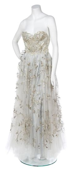 * A George Halley Ice Embroidered Lace Ball Gown,