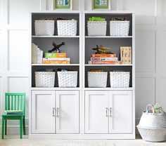Shop playroom storage and kids storage furniture at Pottery Barn Kids. Build your own storage wall and cubby system that will fit your organization needs. Billy Oxberg, Wall Storage Systems, Kids Storage, Playroom Storage, Bedroom Organization, Playroom Ideas, Bedroom Storage Solutions, Basement Storage, Smart Storage