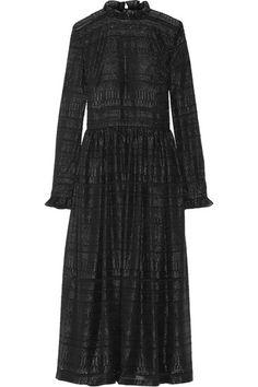 MARKUS LUPFER Danielle ruffle-trimmed metallic fil coupé midi dress. #markuslupfer #cloth #dresses