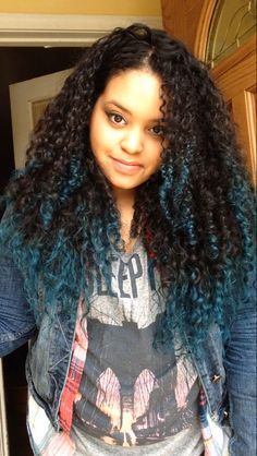 Teal tips. Natural curly hair ombré