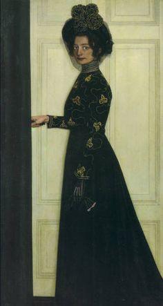 Oskar Zwintscher. Bildnis der Gattin des Künstlers. 1902. Öl auf Leinwand. Dresden Albertinum