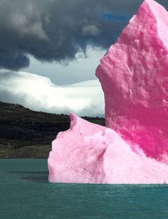 Iceberg; this pink iceberg is the result of algae which is growing in the ice and has been effected by the UV rays which results in the algae producing this reddish pink color.
