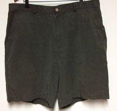 Tommy Bahama Mens Sz 40 100% Silk Green Shorts Pockets Flat Front Zipper Fly | eBay