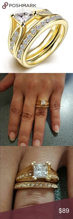 New 18 k yellow gold wedding ring set Brand new 18 k yellow gold filled with lab created diamonds engagement wedding ring.wedding band, wedding ring set. Also have wedding ring sets, engagement rings , wedding bands in my listing for sale. Available in all sizes. Swarovski Jewelry Rings