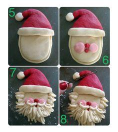 "How to make a salt dough Santa. A great tutorial from this blog, ""The Glue Gun Girl""."