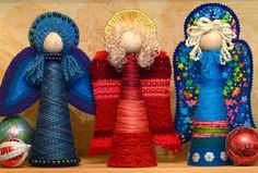 Another one with foam cones and yarn - only now they are angels! Great for someone with an Angel collection at Christmas time, these would surely be unique! Christmas Time Is Here, Christmas Angels, Christmas Art, Christmas Projects, Holiday Crafts, Christmas Holidays, Christmas Decorations, Christmas Ornaments, Christmas Gingerbread