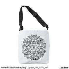New hand-drawn artistic bag with Mandala Artist Bag, Designer Totes, Black Cross Body Bag, You Bag, Tote Bags, Hand Drawn, Shopping Bag, How To Draw Hands, Mandala