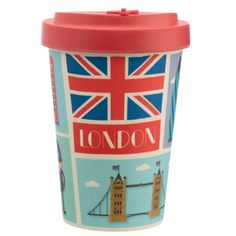 Bamboo Composite London Screw Top Travel Mug If you are looking for a range that is not only great for the planet but also looks super cool, then check out our eco friendly range of picnic and kitchen accessories. Made from bamboo composite which contains a mix of 60% bamboo, 35% melamine and 5% cornstarch, this reusable range contains no BPA and no phthalate. The bamboo comes from chopstick offcuts and is sustainably grown. Height 14cm Width 9.5cm Depth 9.5cm (approx 5.5 x 4 x 4 inches) Travel Cup, Coffee Travel, Union Jack, Kaffee To Go, Mugs Uk, London Icons, Travel Kits, Save The Planet, London Travel