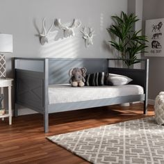 Twin Cintia Wood Daybed with Trundle Gray - Baxton Studio Farmhouse Daybeds, Cottage Farmhouse, Twin Daybed With Trundle, Daybed With Storage, Bunk Bed, Wood Daybed, Modern Daybed, Down Comforter, Baxton Studio