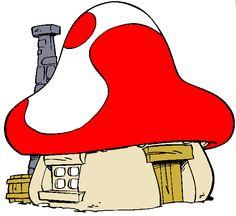 mushroom house l playhouse l Smurf house Cartoon Tv, Cartoon Characters, Cartoon Mushroom, Smurf House, Smurf Village, Murals For Kids, Mushroom House, Smurfette, House Drawing