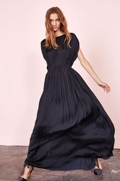 Pleated Japanese Satin Gown