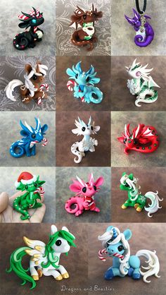 Christmas Sale 2015 by DragonsAndBeasties on DeviantArt - I'd have liked more time for Christmas sculpting but we're in the process of arranging a move o - Polymer Clay Dragon, Polymer Clay Figures, Polymer Clay Sculptures, Polymer Clay Animals, Cute Polymer Clay, Cute Clay, Polymer Clay Miniatures, Polymer Clay Projects, Polymer Clay Charms