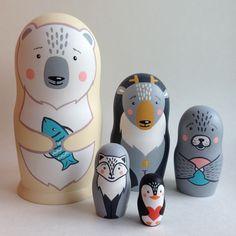 Arctic animals wooden dolls set