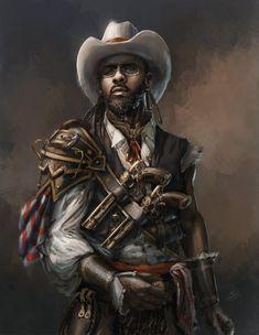 Steampunk Cowboy that looks like Idris Elba, Angelique Shelley