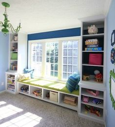 DIY Playroom Built Ins From Ikea Cabinets Jaime Costiglio. Pin By Besthomezone On Home Office Ideas In 2019 Low . 60 Window Seat Ideas For Your Home Ultimate Home Ideas. Home and Family Bookshelves Built In, Built Ins, Diy Bookcases, Playroom Storage, Bookshelf Storage, Bookcase Bench, Wall Storage, Bedroom Storage, Diy Storage