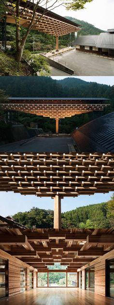Yusuhara Wooden Bridge Museum by Kengo Kuma & Associates. Timber Architecture, Japan Architecture, Amazing Architecture, Contemporary Architecture, Architecture Details, Tectonic Architecture, Museum Architecture, Architecture Interiors, Ancient Architecture