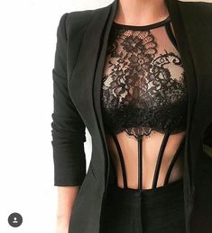 Note to self: Wear more business jackets over lingerie! Note to self: Wear more business jackets over lingerie! Jolie Lingerie, Lingerie Set, Women Lingerie, Bodysuit Lingerie, Lingerie Dress, Lingerie Underwear, Mode Outfits, Sexy Outfits, Fashion Outfits