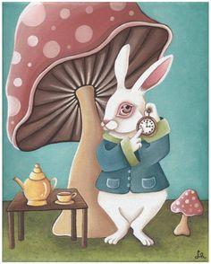 *WHITE RABBIT ~ Alice in Wonderland artworkbylori, Paintings and Prints by Lori Ramotar