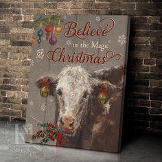 Christmas Wall Art Canvas Cow Canvas, Canvas Wall Art, Canvas Prints, Christmas Wall Art Canvas, Cow Wall Art, Canvas Material, Beautiful Christmas, Cotton Canvas, Vibrant