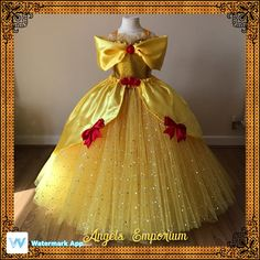 The Original Princess Belle from Beauty and the Beast Inspired Tutu Dress Ball Pageant Costume Luxury Satin Gown Yellow Red Roses Gold Tutu Belle Dress Kids, Belle Tutu, Kids Dress Up, Baby Dress, Girls Pageant Dresses, Little Girl Dresses, Ball Dresses, Flower Girl Dresses, Flower Girls