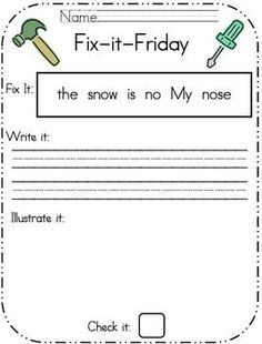 In my classroom I dedicate my Morning Message on Fridays for editing.  The students then independently edit a simple sentence for capitalization, p...