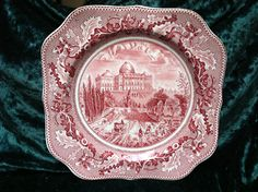 Johnson Bros. Historic America Square Salad Plate - Pink Red Transferware $10