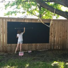Super easy chalkboard panel for fence Fence Panels, Dream Garden, Backyard Ideas, Super Easy, Chalkboard, Graduation, Slate, Chalk Board, Garden Ideas