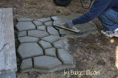Landscaping can sometimes seem like a costly overwhelming project. It doesn't have to be, you can change the look of the front of your home with this easy Do It Yourself project that takes less than half a day. Revamp the walkway to your front door Backyard Walkway, Concrete Walkway, Backyard Landscaping, Walkway Ideas, Patio Ideas, Landscaping Design, Wood Pathway, Cement Patio, Luxury Landscaping