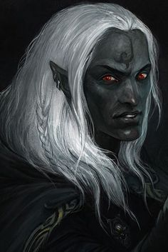 Male drow noble or mage with a tattoo on his forehead.