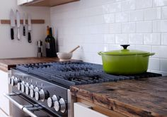 Kitchen worktop made from reclaimed wooden planks from Holloways of Ludlow.