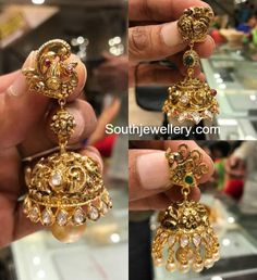 Nakshi Peacock Gold Jhumkas photo