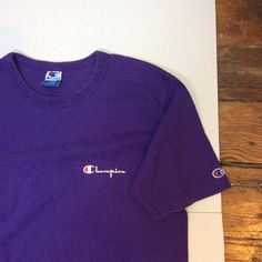 5d5fb3f7bb46 Vintage Champion 80s 90s Made in the USA Purple Logo Tshirt Shirt Mens  Large
