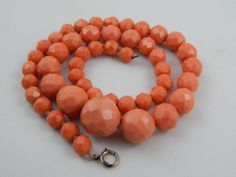 Vintage Art Deco Era Graduated Carved Faceted Faux Coral Celluloid Bead Necklace