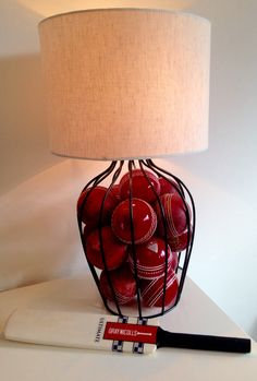 Cricket Ball lamp. Fill lamp base with balls for sport themed rooms.