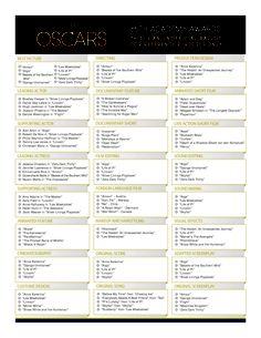 Oscars printable ballot