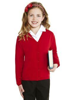 d30935f3b6 F amp F School Girls Scallop Trim Cardigan with As New Technology Navy  Green
