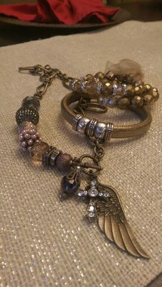 Czech glass and leather!!!  Lisa lou's fancy beads.  Etsy.com