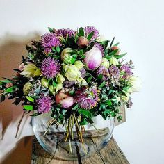 How cute are these green and mauve mini-eggplants? Couldn't resist using them as inspiration for a bouquet