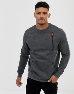 Blend sweatshirt with zip pocket in gray Shirt Print Design, Shirt Designs, Concept Clothing, Stylish Hoodies, Casual T Shirts, Mens Sweatshirts, Polo T Shirts, Sportswear, Menswear