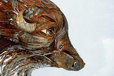 Hammered Steel Animal Head Sculptures by Selcuk Yilmazby > Design und so, Fashion / Lifestyle, Film-/ Fotokunst, Installationen, Sculptures > animals, hammered, sculptures, selcuk yilmazby, steel