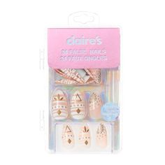 Claires : Nude and Gold Tribal Print Stiletto False Nails - Claire's Fake Nails, Claire's Nails, Fake Nails For Kids, Nail Art For Girls, Kiss Nails, Stick On Nails, Glue On Nails, Cute Nails, Pretty Nails