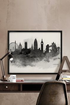 watercolor painting London skyline London poster by iPrintPoster