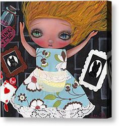 Alice In Wonderland  Down the rabbit hole Canvas Print by  Abril Andrade Griffith