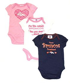 75940ac6207 NFL Licensed Denver Broncos Girls 3 Piece Onesie Creeper Crawler Set