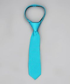 Turquoise & White Polka Dot Tie - Infant, Toddler, Boys & Men by Littlest Prince Couture on #zulily.