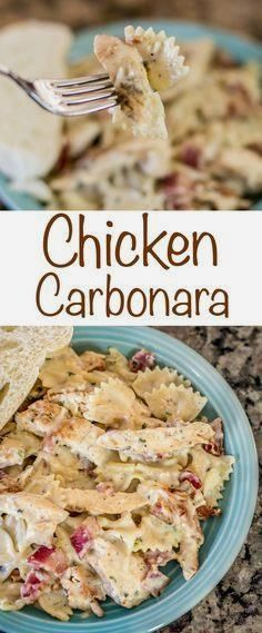 Chicken Carbonara recipe with Bacon, chicken and cheesy…