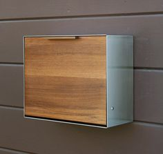 beautiful!! Modern Post Mounted Mailbox,  Teak and Stainless Steel Mailbox,  Post or Wall Mounted mailbox