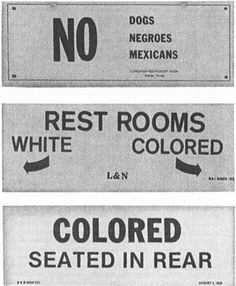 In the South, following the Civil War, racial segregation was introduced in order to discriminate against black people. Jim Crow laws were passed and blacks and whites would use separate public spaces. Blacks were sometimes compared to animals such as dogs.